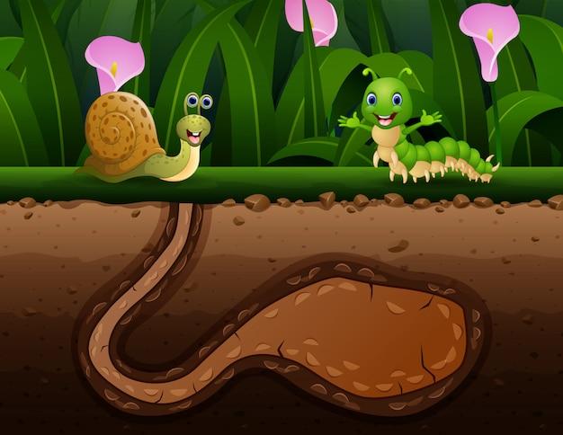 Caterpillar en slak op aardachtergrond
