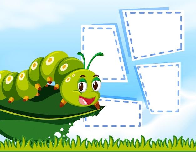 Caterpillar op op notitiesjabloon