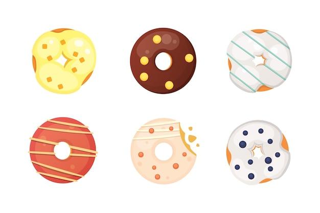 Catoon-doughnut met geïsoleerde glazuurillustratie.