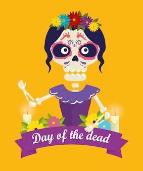Catrina met schedeldecoratie en bloemen voor dag van de dode gebeurtenis