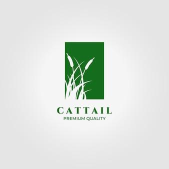 Cattails logo vector illustratie ontwerp vintage icon
