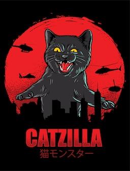 Catzilla funny geïsoleerd op zwart