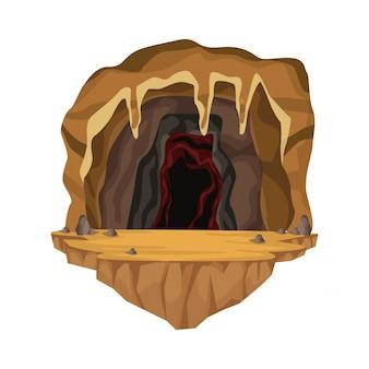 Cave interieur scène in diepe berg
