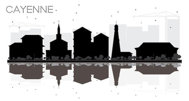 Cayenne frans guyana city skyline zwart-wit silhouet met reflecties. eenvoudige vlakke afbeelding voor toeristische presentatie, banner, plakkaat of website. cayenne stadsgezicht met bezienswaardigheden.