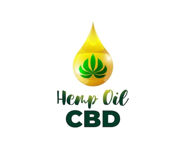 Cbd hennepolie van medicinale cannabis badge marihuanablad extract drop icon natuurlijk product labelontwerp
