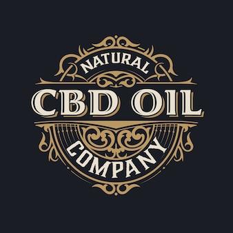 Cbd olie logo. vintage-stijl.