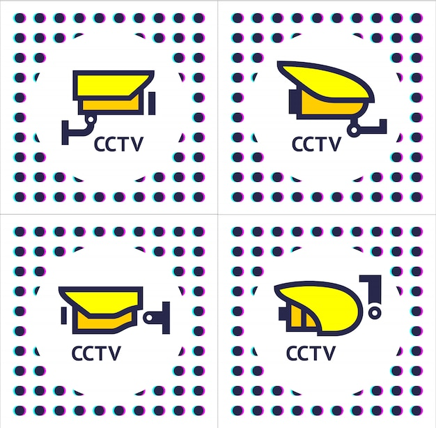 Cctv camera set stickers
