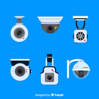 Cctv-camerainzameling met vlak ontwerp