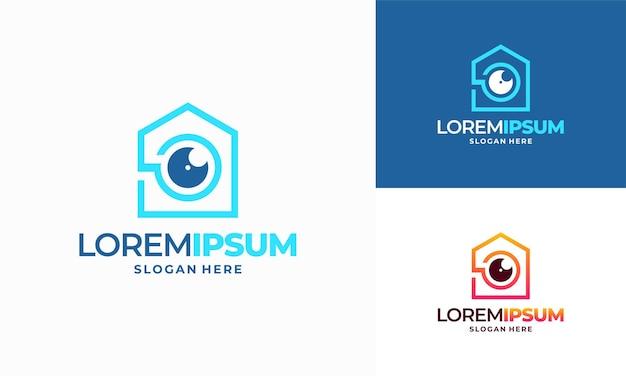 Cctv home concept vector logo sjabloon., secure camera cctv logo template design vector