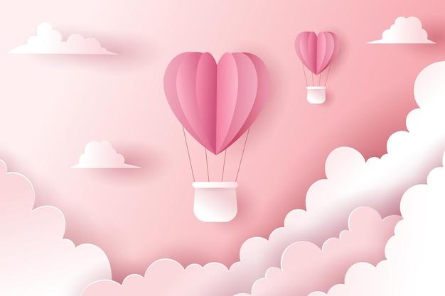 Celebratioin van hete lucht hartballonnen. valentijnsdag concept.