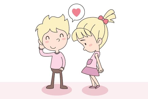 Celebratioin van schattige jongen en meisje liefdevolle paar. valentijnsdag concept.