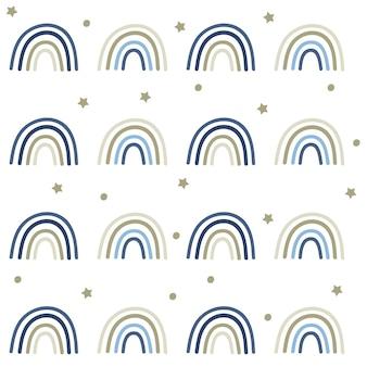 Celestial blue rainbow naadloze patroon.