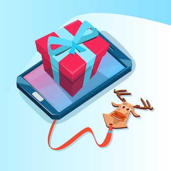 Cell smart phone met present box big holiday sale