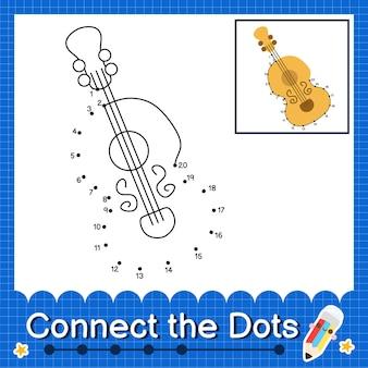 Cello kids verbind de stippen werkblad voor kinderen die nummer 1 tot en met 20 tellen