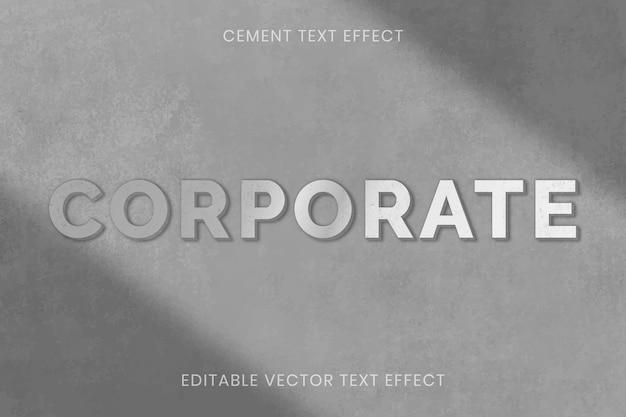 Cement textuur teksteffect vector bewerkbare sjabloon