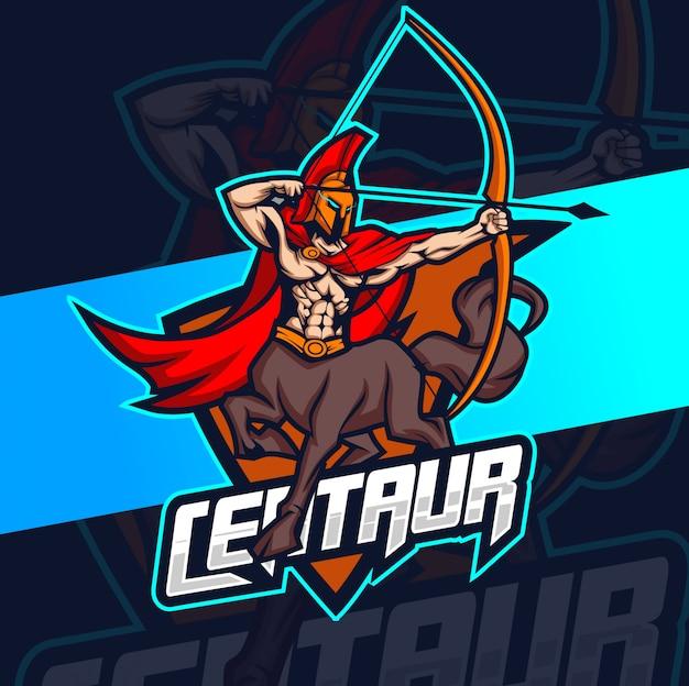 Centaur mascotte esport logo ontwerp