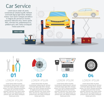Center mechanische autoservice met reparatie controleer voertuigen vlakke horizontale banners wielmachine en illustratie