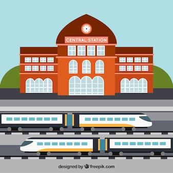 Centraal station met hogesnelheidstreinen