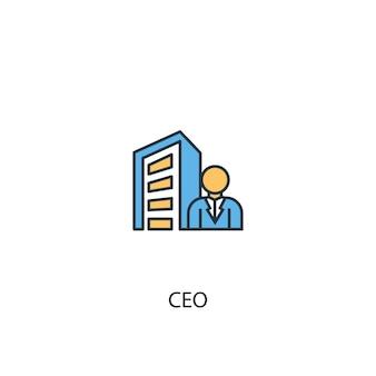 Ceo concept 2 gekleurde lijn icoon. eenvoudige gele en blauwe elementenillustratie. ceo concept schets symbool ontwerp