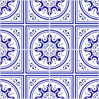 Ceramisch blauw en wit bloemen naadloos patroon