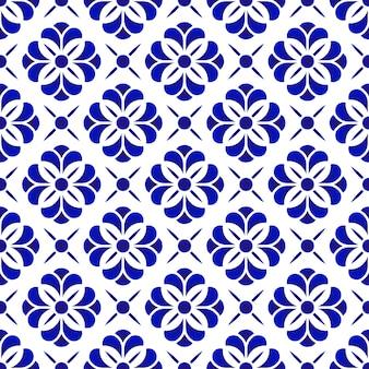 Ceramisch bloempatroon, blauwe en witte bloemen naadloze achtergrond, mooi porselein til