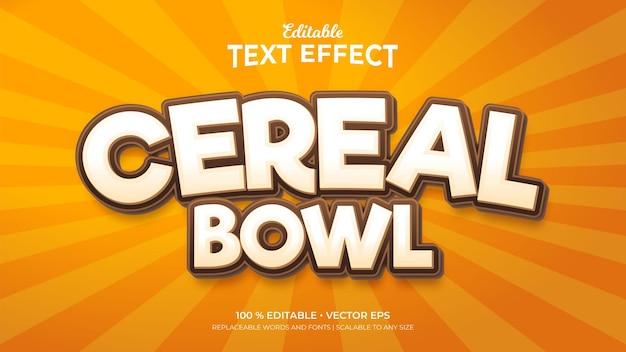 Cereal bowl 3d-stijl bewerkbare teksteffecten