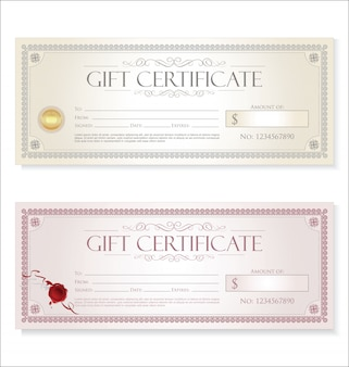Certificaat cadeau coupon sjabloon retro vintage design