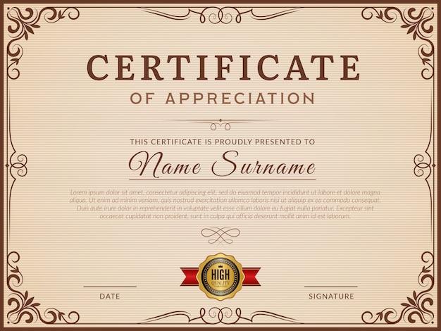 Certificaat. decoratieve randen en hoeken voor moderne certificaat vectorlay-out. certificaat met grenssjabloon, frame decoratie ornament illustratie