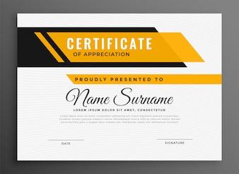 Certificaat diploma sjabloon in gele kleur