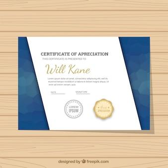 Certificaat graduation met abstracte vormen in blauwe tinten