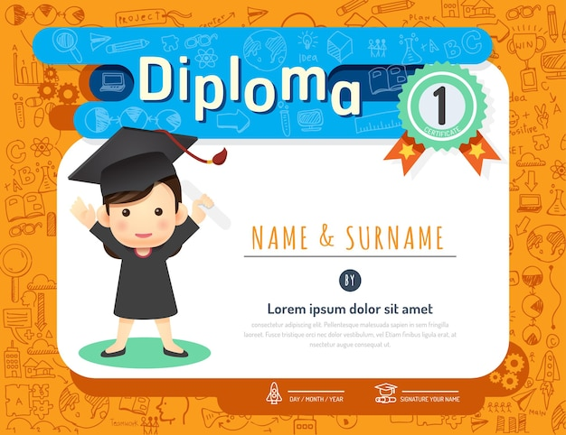 Certificaat kids diploma, kleuterschool sjabloon lay-out doodle schets idee achtergrond frame ontwerp vector. onderwijs voorschoolse concept plat kunststijl