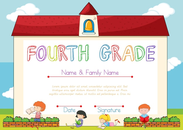 Certificaat met achtergrond van kinderen en school