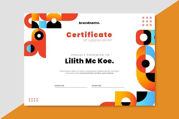 Certificaat met verloopmozaïek