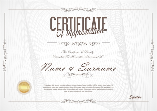 Certificaat of diploma retro-ontwerp