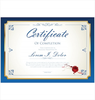 Certificaat of diploma retro sjabloon illustratie