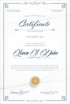 Certificaat of diploma retro sjabloon vectorillustratie