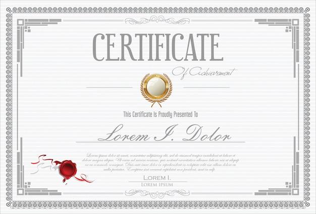 Certificaat of diploma retro vintage design