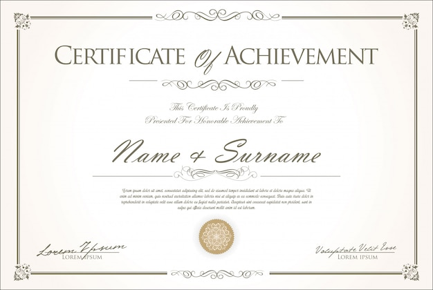 Certificaat of diploma retro vintage ontwerp