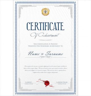 Certificaat of diploma retro vintage sjabloon