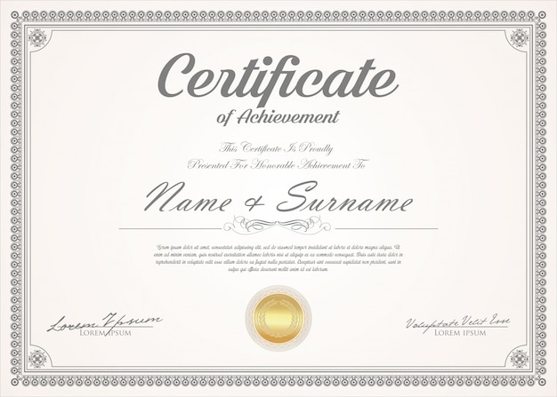 Certificaat of diploma retro vintage