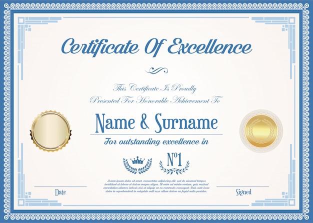 Certificaat of diploma van uitmuntendheid retro vintage