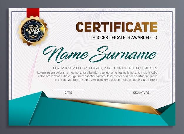 Certificaat- of diplomasjabloon met luxe lijnpatroon en gouden onderscheidingsembleem