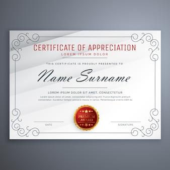 Certificaat ontwerp sjabloon met decoratieve grens