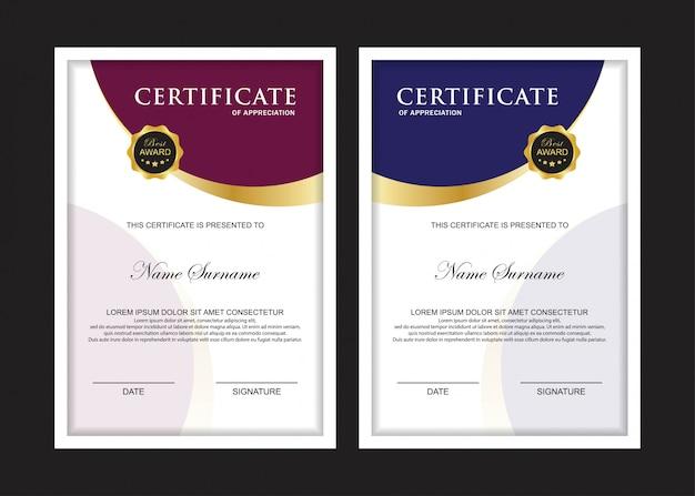 Certificaat premium set sjabloon met paarse en blauwe kleur