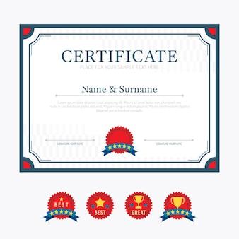 Certificaat sjabloon lay-out achtergrond frame ontwerp vector. moderne platte kunststijl