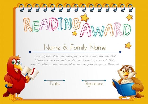 Certificaat template voor het lezen prijs