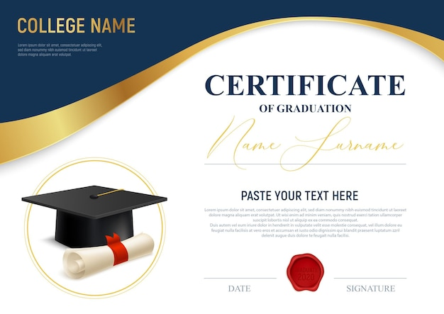 Certificaat van afstuderen sjabloon