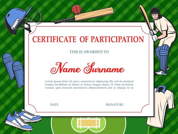 Certificaat van deelname aan honkbaltoernooi