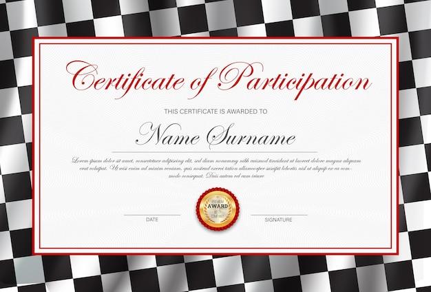 Certificaat van deelname, diploma sjabloon met zwart-wit geruite rally vlag. Premium Vector