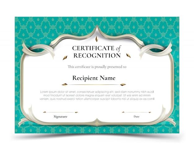 Certificaat van herkenningssjabloon met traditionele turquoise thaise patroongrens